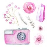 Cámara y flores de la acuarela Fotografía de archivo libre de regalías