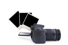Cámara y foto de la polaroid Imagen de archivo