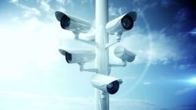 Cámaras CCTV contra el cielo azul stock de ilustración