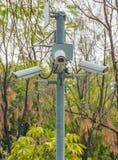 Cámaras CCTV en parque público Imagen de archivo libre de regalías