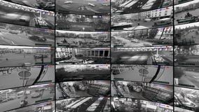 Cámaras CCTV, pantalla dividida de cámaras de seguridad, pared video rotatoria almacen de metraje de vídeo