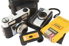 Cámaras de la película de la vendimia fotografía de archivo