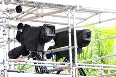 Cámaras de televisión de la difusión Imágenes de archivo libres de regalías