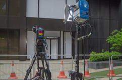 Cámaras de televisión en las jefaturas del partido laborista Foto de archivo