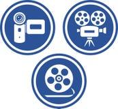 Cámaras del vídeo y de la película - iconos del vector Foto de archivo libre de regalías