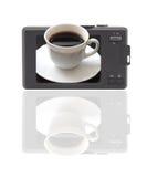 Cámaras digitales compactas. La visualizar-taza de coffe. imagen de archivo libre de regalías