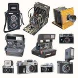 Cámaras retras del vector en fondo de la luz suave Fotos de archivo libres de regalías