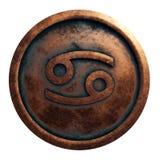 Cáncer de la muestra del horóscopo en el círculo de cobre imagen de archivo libre de regalías