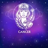 Cáncer de la muestra del zodiaco Princesa fantástica, retrato de la animación Dibujo blanco, fondo - el cielo estelar de la noche Imagenes de archivo