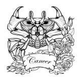 Cáncer del zodiaco Dibujo linear itolated en el fondo blanco Foto de archivo libre de regalías