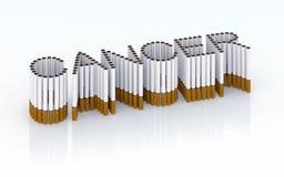 Cáncer escrito con los cigarrillos Fotografía de archivo libre de regalías