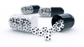 Cápsula com bolas de futebol ilustração do vetor
