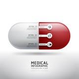 A cápsula droga a medicina infographic da farmácia médica Vetor Imagem de Stock