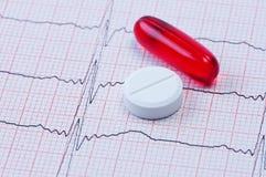 Cápsula e tabuleta no cardiogram. foto de stock