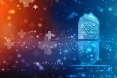 Cápsula médica com fundo de Brain Inside, médico e dos cuidados médicos ilustração stock