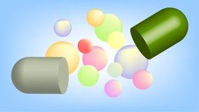 Cápsula rachada no conceito farmacêutico da tecnologia ilustração stock