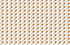 Cápsulas arranjadas na fileira - teste padrão dos comprimidos Imagens de Stock Royalty Free