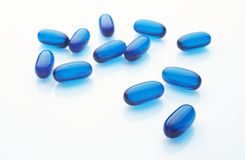 Cápsulas azuis Fotografia de Stock Royalty Free