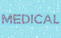 Cápsulas coloridas de las tabletas de las píldoras con los iconos del equipamiento médico Fotografía de archivo