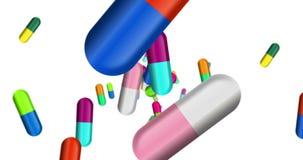 Cápsulas, comprimidos da cor e tabuletas na queda ilustração royalty free