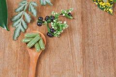Cápsulas de la medicina herbaria en cuchara de madera Imagen de archivo libre de regalías