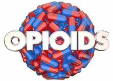 Cápsulas de las píldoras del peligro del apego de medicamentos de venta con receta de los opiáceos ilustración del vector
