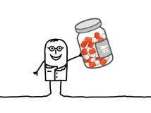 Cápsulas del doctor y de la medicina stock de ilustración