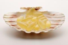 Cápsulas del petróleo de pescados en un shell Imágenes de archivo libres de regalías