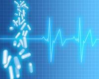 Cápsulas e frequência cardíaca Ilustração do Vetor