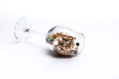 Cápsulas e tabuletas médicas dentro do vidro de vinho Imagem de Stock Royalty Free