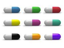 cápsulas médicas 3d con diversos colores, médicos Fotos de archivo