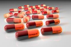 Cápsulas Omega-9 Cápsulas do ácido Oleic Ácidos gordos poliinsaturados Conceito saudável da vida Fundo médico 3d ilustração stock