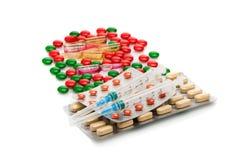 Cápsulas, píldoras, y jeringuillas médicas Fondo médico Fotografía de archivo libre de regalías