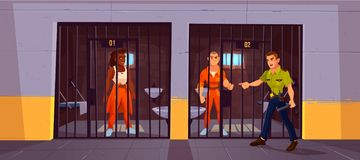 Cárcel y policía de los presos en la cárcel polic?a stock de ilustración