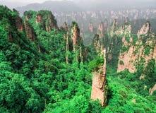 Cársico da coluna da montanha de Tianzi na área cênico de Wulingyuan, Zhangjiajie Forest Park nacional, Hunan, China fotos de stock royalty free