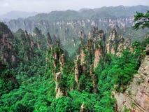Cársico da coluna da montanha de Tianzi na área cênico de Wulingyuan, Zhangjiajie Forest Park nacional, Hunan, China fotos de stock