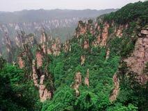 Cársico da coluna da montanha de Tianzi na área cênico de Wulingyuan, Zhangjiajie Forest Park nacional, Hunan, China imagem de stock