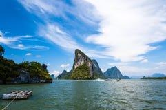 Cársico da pedra calcária da baía de Phang Nga Fotografia de Stock
