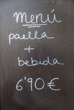 Cártel exterior del menú en Barcelona - España Foto de archivo