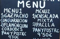 Cártel exterior del menú en Barcelona - España Fotos de archivo