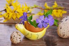 Cáscara de huevo con las flores en el soporte de la forma de la gallina para pascua Imágenes de archivo libres de regalías