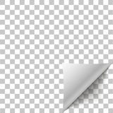 Cáscara de la esquina de papel Doblez encrespado página con la sombra Hoja en blanco de la nota de papel pegajosa doblada Cáscara