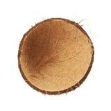 Cáscara de la fruta del coco cortada por la mitad Foto de archivo libre de regalías