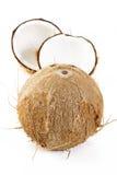 Cáscara del coco en blanco Foto de archivo libre de regalías