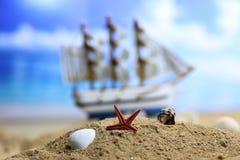 Cáscara y vela de la arena en el mar Imágenes de archivo libres de regalías
