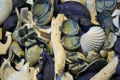 Cáscaras azules y blancas de las decoraciones de madera fotografía de archivo