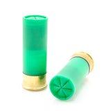 12 cáscaras de escopeta del indicador usadas para cazar Imagen de archivo libre de regalías