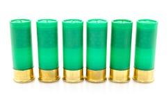 12 cáscaras de escopeta del indicador usadas para cazar Imágenes de archivo libres de regalías