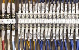 Câblage -- Panneau de commande avec des fils photo stock