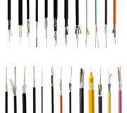 Câble à fibres optiques de 25 fibres d'isolement sur le blanc Photographie stock libre de droits